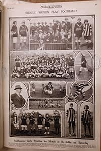 An old newspaper article of women playing Aussie Rules - AFLW