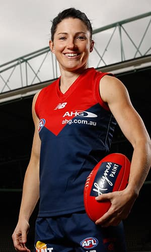 MELBOURNE, AUSTRALIA - JULY 27: Melissa Hickey of the Demons poses for a photograph  during the national women's league marquee players announcement at Etihad Stadium in Melbourne, Australia on July 27, 2016. (Photo by Michael Willson/AFL Media)