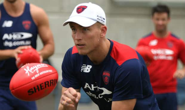 Bernie Vince, pictured at the Demons' Sunshine Coast camp, is close to returning to full training