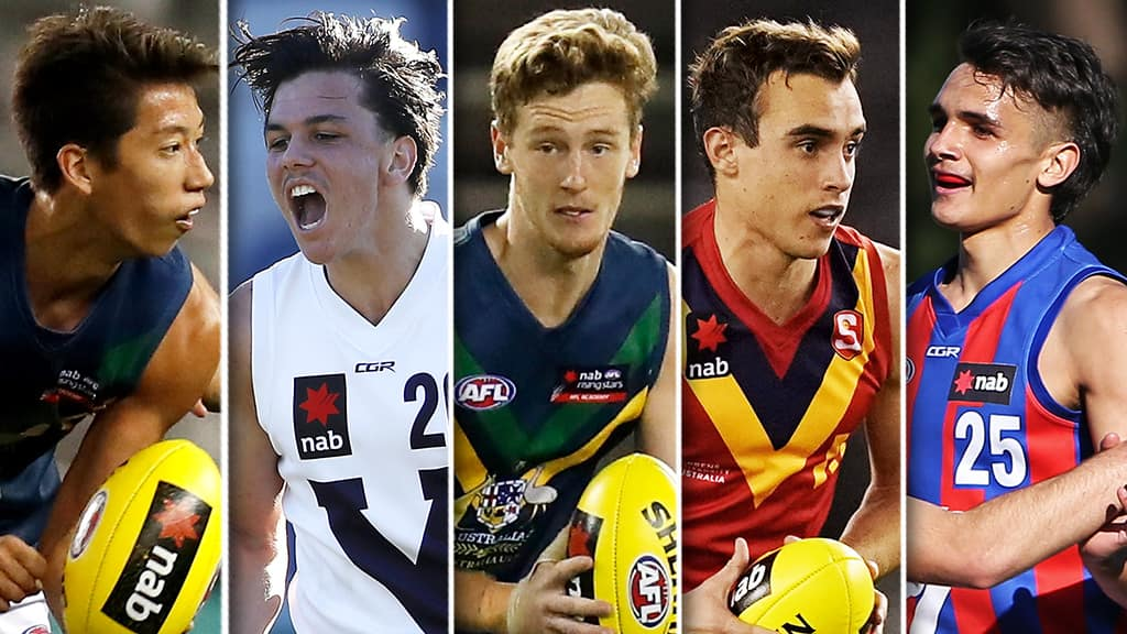 Alex Davies, Elijah Hollands, Denver Grainger-Barras, Luke Edwards and Jamarra Ugle-Hagan are among the most enticing prospects ahead of 2020. All pictures: AFL Photos - AFL,News,Game,Update,Draft,Tag-Draft