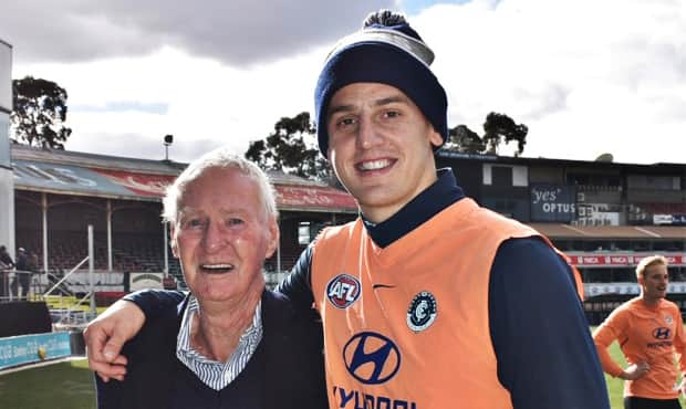 Bob Crowe meets Liam Jones - Carlton's keepers of the No.14. - Carlton,Carlton Blues,AFL,Ikon Park