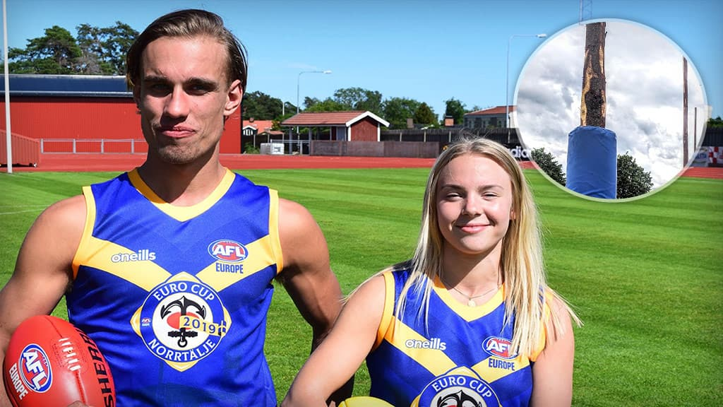 He's a lumberjack and he's OK: Swedish Elks captain Buster Sund with his partner, Swedish Ravens player Jessica Espvall - AFL,Featured,International Cup