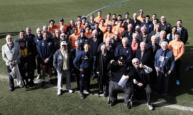 Some of Carlton's past and present players and officials come together at Ikon Park. (Photo: Jonathan Di Maggio) - Carlton,Carlton Blues,AFL,Ikon Park