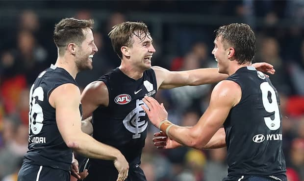 Lochie O'Brien celebrates a goal against Gold Coast in Round 19 (Photo: AFL Media).  - Lochie O'Brien,Carlton,Carlton Blues