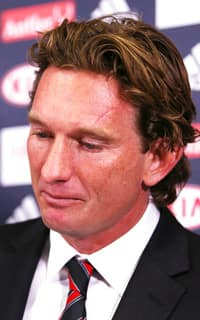 Essendon coach James Hird speaks to the media following the verdict in the anti-doping case. Picture: Getty Images