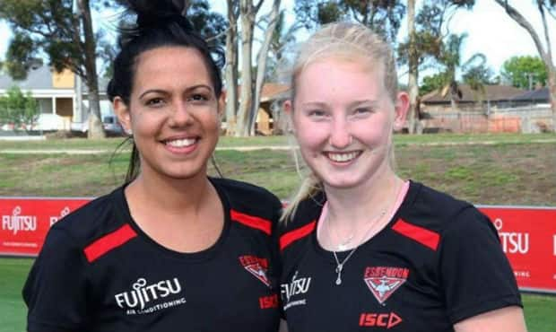 Michaela Long and Stephanie Hird at Essendon VFLW training. Picture: Essendon Facebook page - AFL,VFL,Essendon Bombers,James Hird