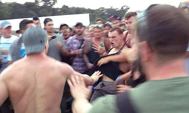 A picture showing Robinson in a scuffle at the Big Day Out. Picture: Supplied