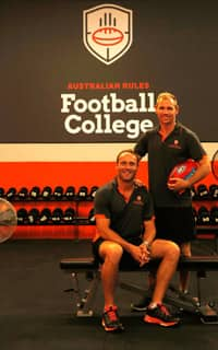 Brad Sewell and Michael Osborne have launched the Australian Rules Football College in North Melbourne - ${keywords}