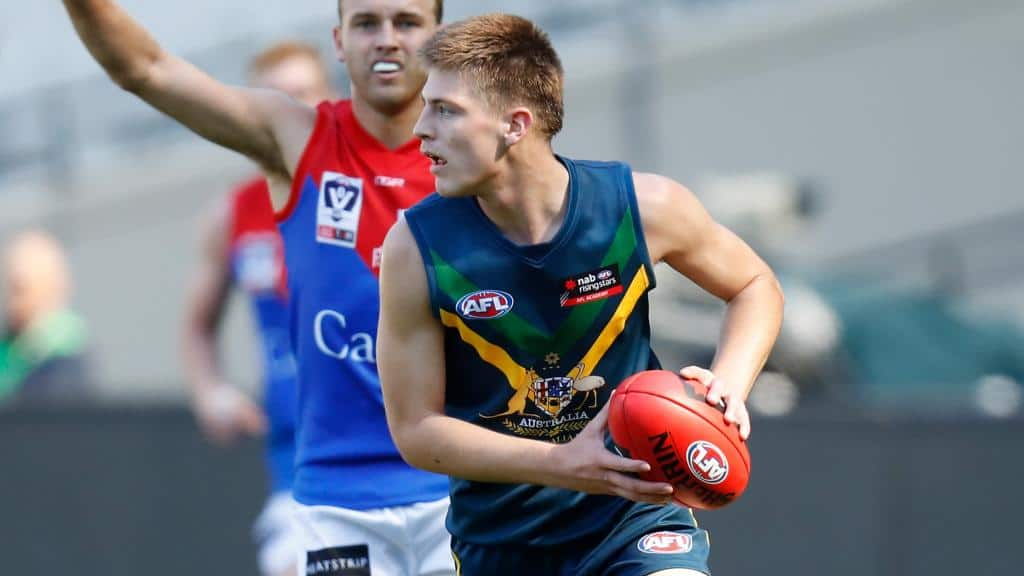 Dylan Williams in action for the Australia U18 team against Casey Demons at the MCG in April - AFL,Lifestyle,Perspective,News,Profile,Tag-Draft,Draft