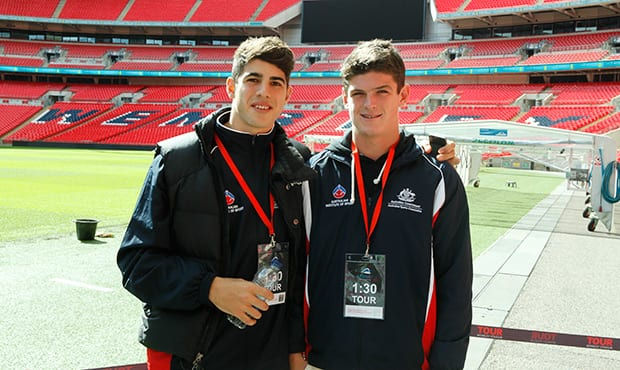 Christian Petracca and Angus Brayshaw (right) enjoy a tour of Wembley Stadium in London - ${keywords}