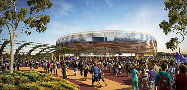 An artist's impression of the new Perth Stadium and sports precinct. (Image: supplied)