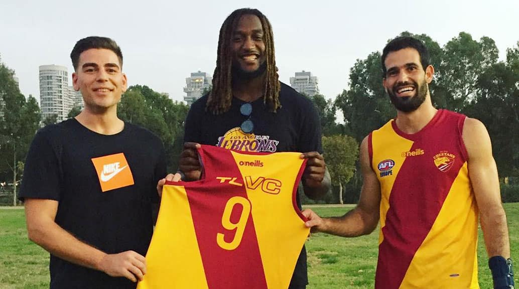 Nic Naitanui with Terry Dehghani (left) and Shir Shalev from the Tel Aviv Cheetahs. Picture: AFL Europe - AFL,West Coast Eagles,Nic Naitanui
