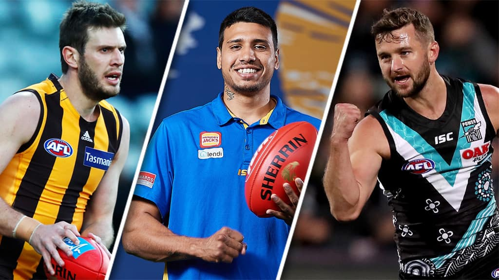 Grant Birchall, Tim Kelly and Sam Gray all feature in Wednesday's Trade Wrap. All pictures: AFL Photos - AFL,Tag-Trade,Trade,West Coast Eagles,Hawthorn Hawks,Port Adelaide Power,Sam Gray,Grant Birchall,Tim Kelly,Geelong Cats