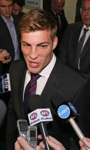 Jack Viney leaves AFL House after successfully overturning his two-match ban. Picture: Getty Images
