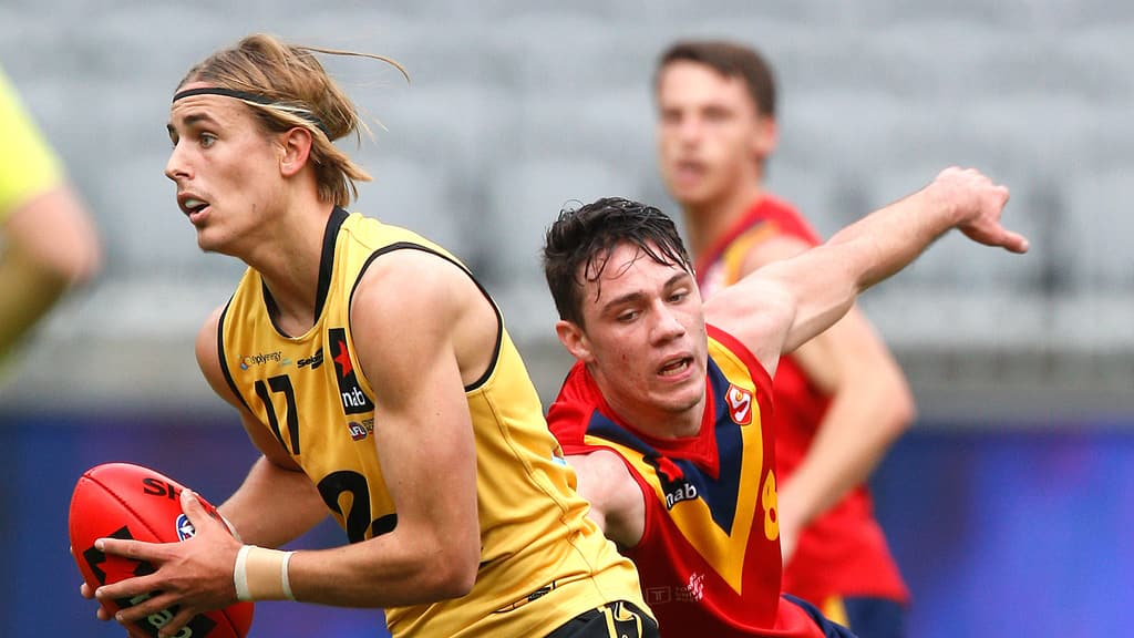 Runner Jeremy Sharp was Western Australia's best in its loss to South Australia. Picture: Michael Farnell/WAFC - AFL,Under-18s,Tag-Draft,Draft
