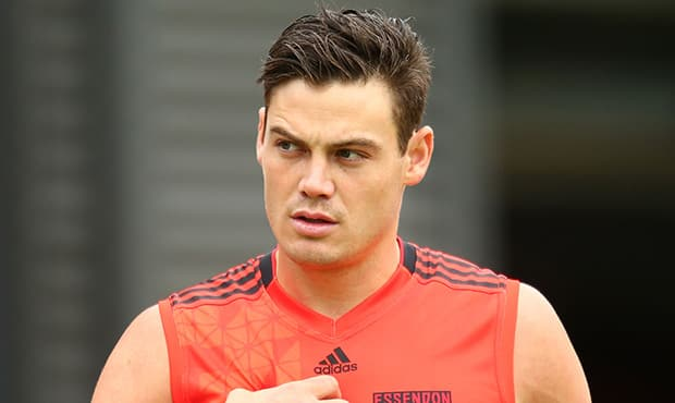 Nathan Grima hits the track for Essendon. Picture: Getty Images