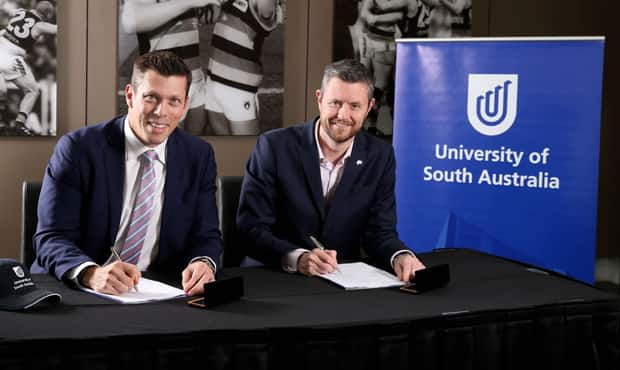 Crows CEO Andrew Fagan and University of South Australia Vice Chancellor Professor David Lloyd
