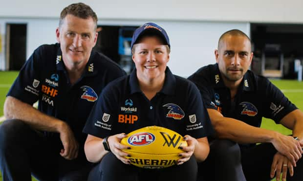 New Crows AFLW assistant coaches Peter Caven (L) and Andrew McLeod (R) with Senior Coach Bec Goddard