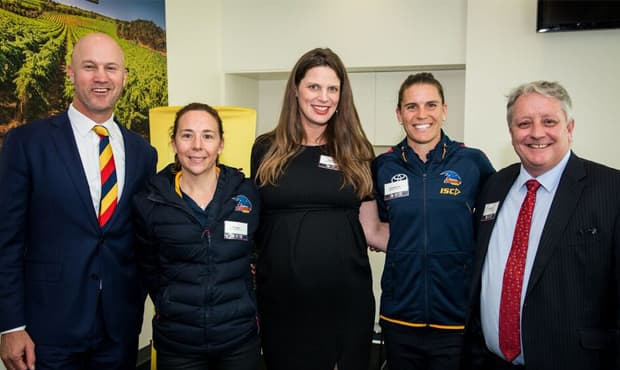 Nigel Smart, Emma Bahr, Kate Ellis, Chelsea Randall and Brent Clark launch the DCNS Crows Cup