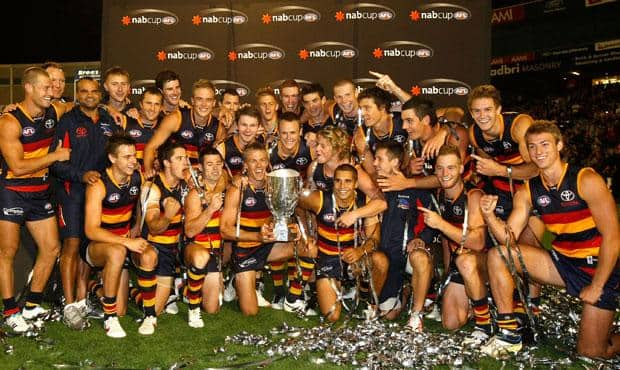 The Crows celebrate winning the 2012 NAB Cup