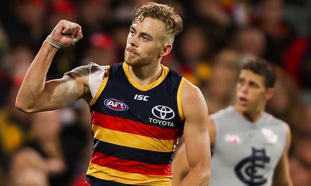 ADELAIDE, AUSTRALIA - MAY 5: Hugh Greenwood of the Crows celebrates a goal during the 2018 AFL round seven match between the Adelaide Crows and the Carlton Blues at Adelaide Oval on May 5, 2018 in Adelaide, Australia. (Photo by AFL Media)