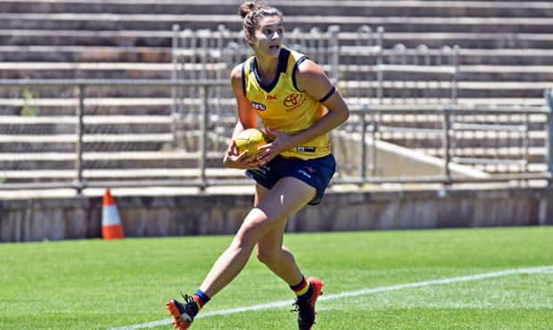 Jasmyn Hewett in action in Adelaide's internal trial