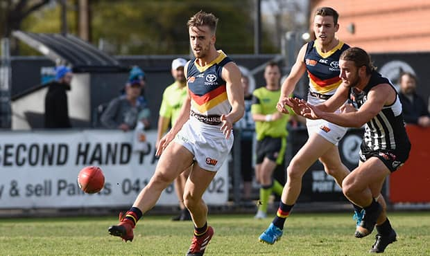 Jordan Gallucci breaks clear in Saturday's SANFL Showdown clash with Port Adelaide