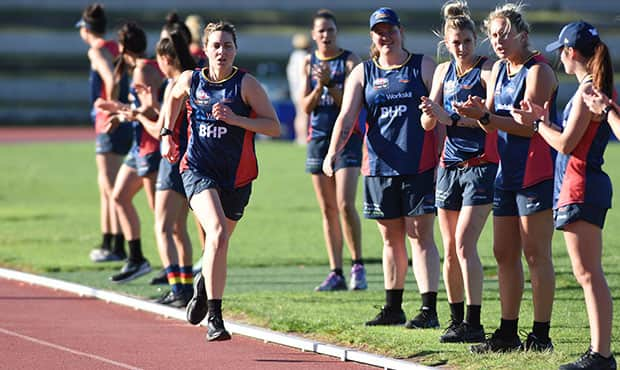 Crows recruit Rheanne Lugg during a 2km time trial