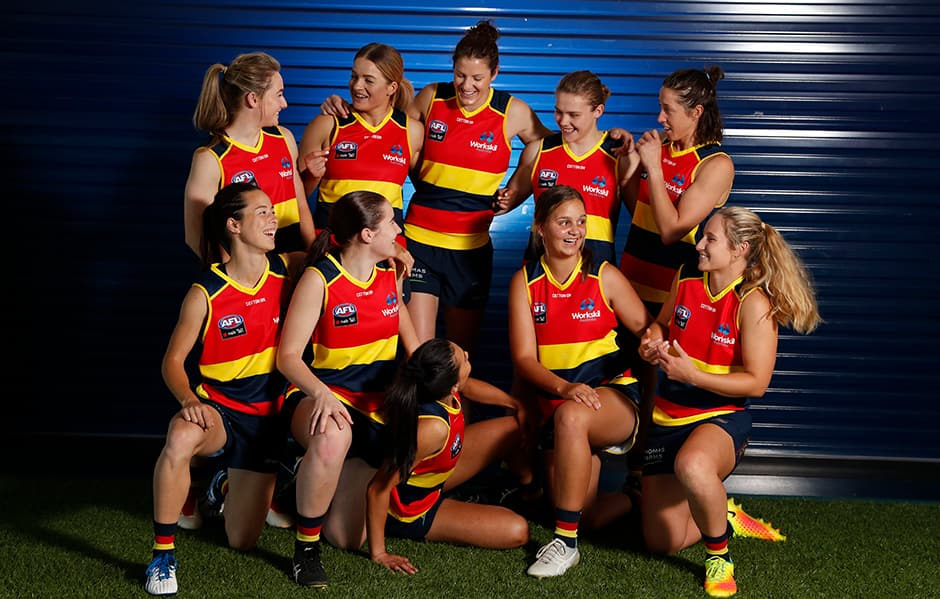 ADELAIDE, AUSTRALIA - NOVEMBER 30: during the Adelaide Crows AFLW 2019 official team photo day at AAMI Stadium on November 30, 2018 in Adelaide, Australia. (Photo by Michael Willson/AFL Media)
