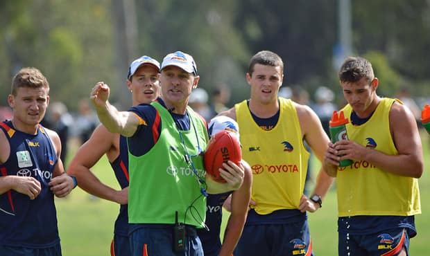 Phil Walsh delivers his message to the players  (Photo: Adelaide Crows FC)