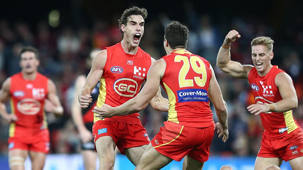 Ben King celebrates one of his four goals against the Dons. All pictures: AFL Photos - AFL,Rising Star,Ben King,Gold Coast Suns