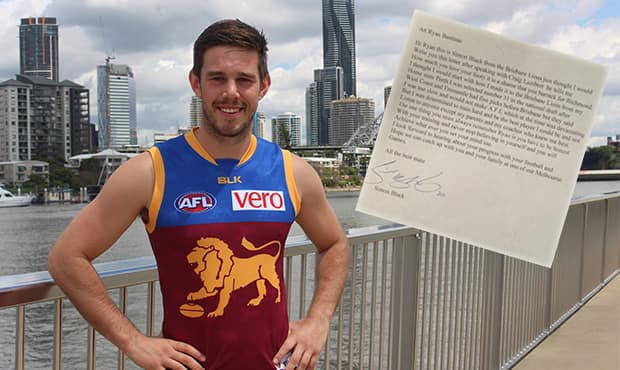 Ryan Bastinac was a 12-year-old when he received the note from Lions champion and now assistant coach Simon Black. Full letter below.