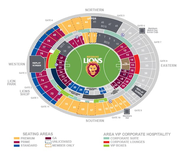 Gabba Seating Map Gabba Map   lions.com.au Gabba Seating Map
