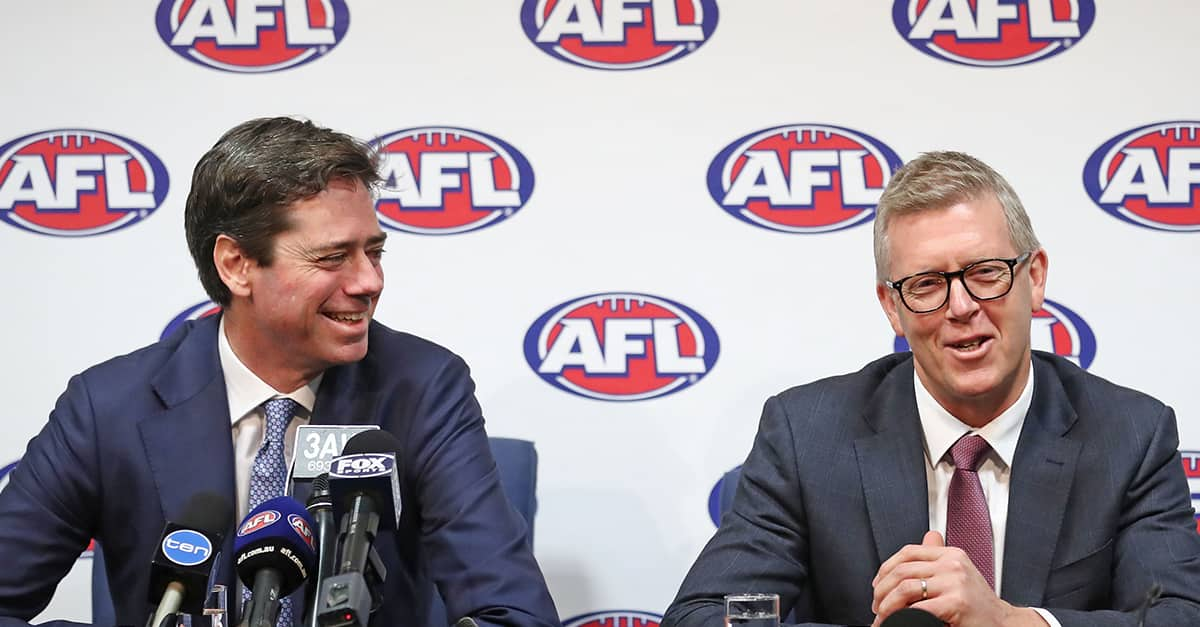 AFL Chief Executive Gillon McLachlan and AFL General Manager Football Operations Steven Hocking address the media. - Brisbane Lions