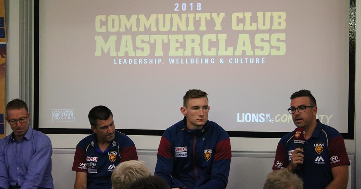 (L-R): David Noble, Dale Tapping, Harris Andrews and Andrew Crowell speaking at the Community Club Masterclass. - Brisbane Lions