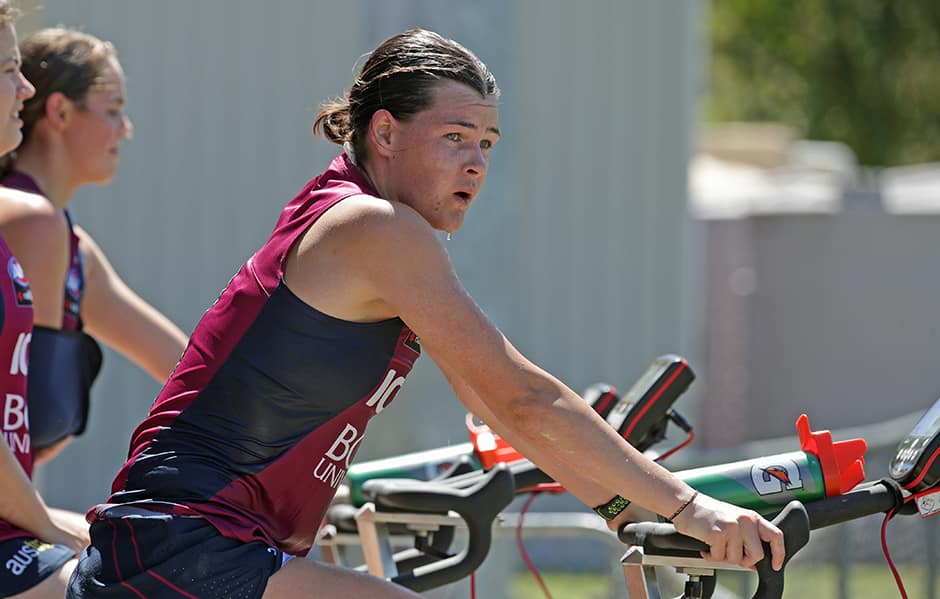 Sophie Conway on the bike during last Saturday's training. - Brisbane Lions