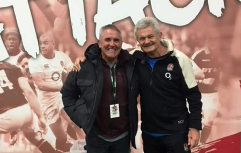 England Rugby's Coach Development Manager, Neil Craig with Chris Fagan. - Brisbane Lions
