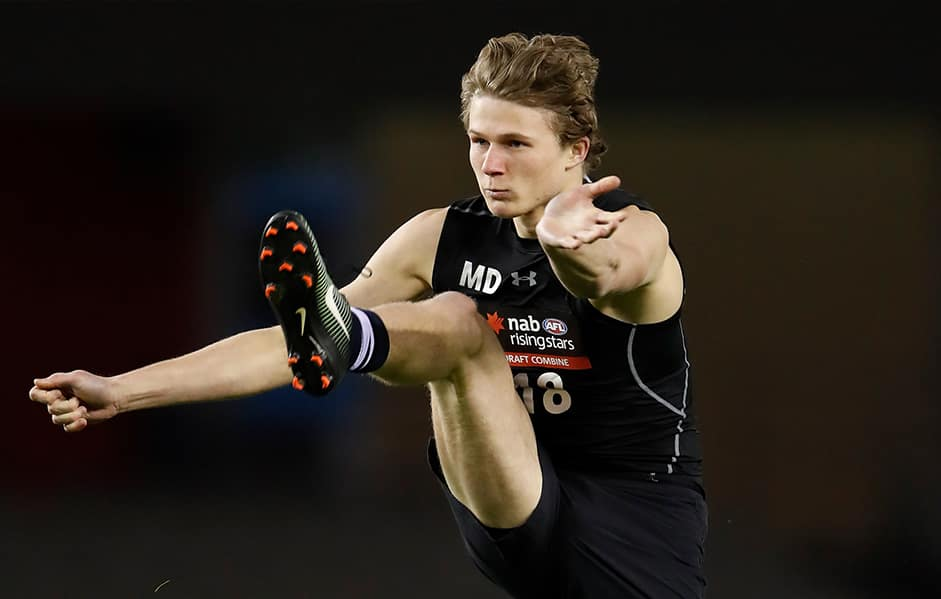 Xavier Duursma completes a goal kicking test during the AFL Draft Combine. - Brisbane Lions