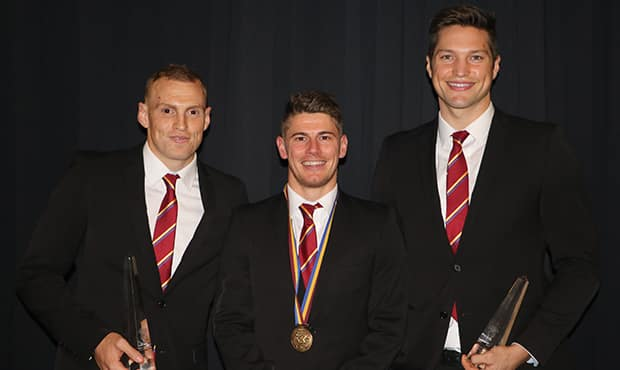 Dayne Zorko (Club Champion - centre) with Mitch Robinson (runner up - left) and Stefan Martin (third place - right) after accepting their awards.