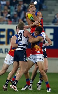 Joel Patfull provided a rare highlight for the Lions with this big mark
