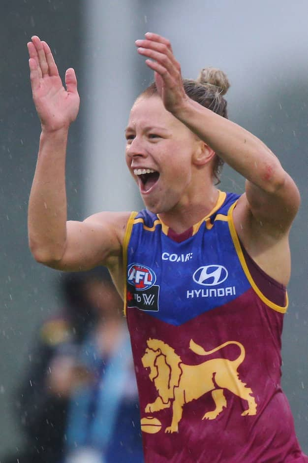 MELBOURNE, AUSTRALIA - FEBRUARY 05:  Kate McCarthy of the Lions celebrates the win during the round one Women's AFL match between the Melbourne Demons and the Brisbane Lions at Casey Fields on February 5, 2017 in Melbourne, Australia.  (Photo by Michael Dodge/Getty Images/AFL Media)