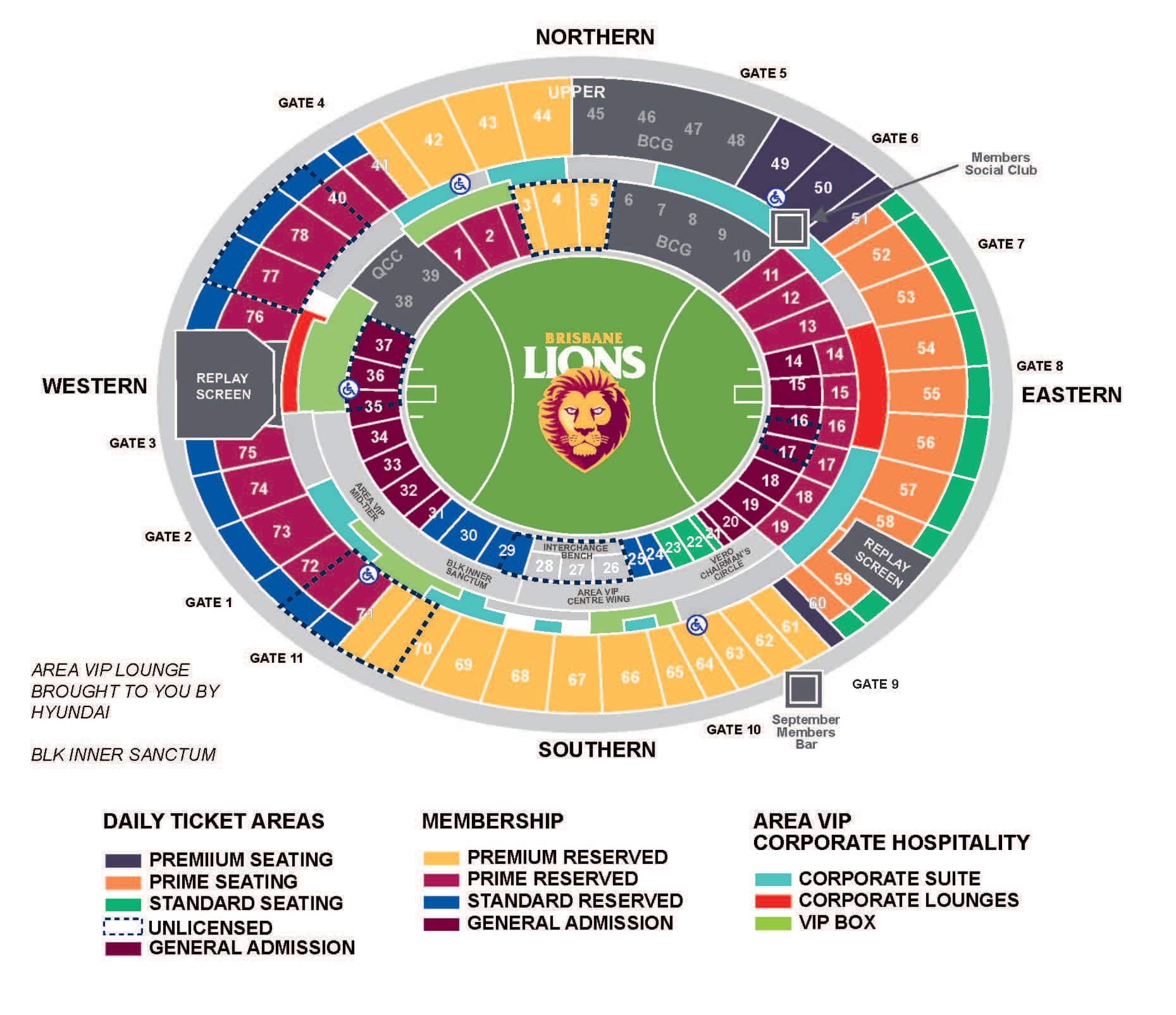 Gabba Seating Map The Gabba General Admission Seating : AFL Gabba Seating Map