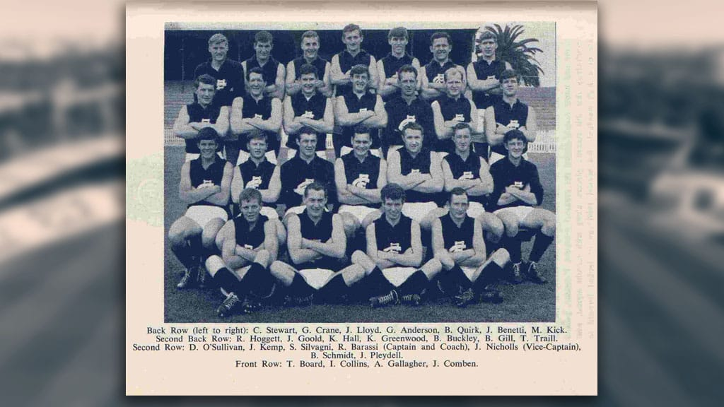 The 1965 Carlton team. Terry Board sits in the front row at the far left, alongside Ian Collins and Adrian Gallagher. - Carlton,Carlton Blues,Ikon Park