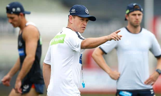 Brendon Bolton pictured in charge of his first pre-season at the Blues. (Photo: AFL Media)