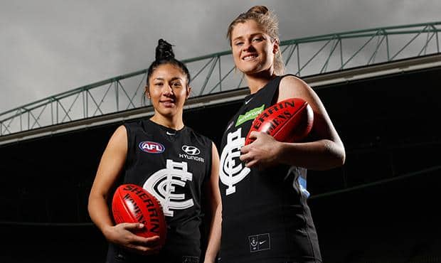Marquee players Darcy Vescio (left) and Bri Davey will lead the Blues in the inaugural AFL Women's. (Photo: AFL Media)