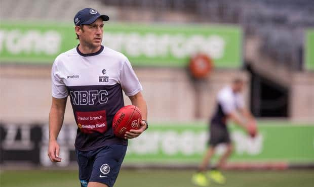 Northern Blues coach Josh Fraser casts a watchful eye over training at Ikon Park. (Photo: Jason Heidrich)