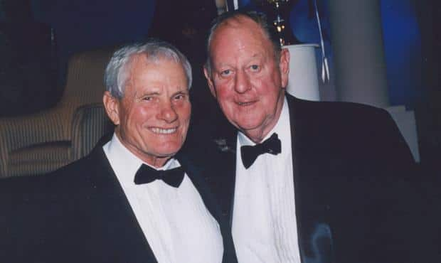 The late Allan Greenshields (left) with Ken Hands, the only surviving member of Carlton's 1947 premiership team. (Photo: Carlton Football Club)