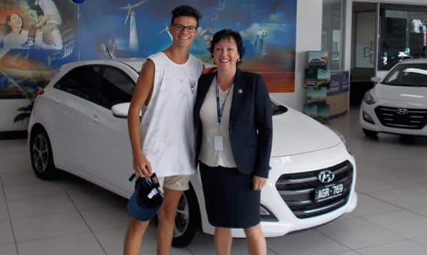 Blues member Michael Pantano receives a brand new Hyundai i30.