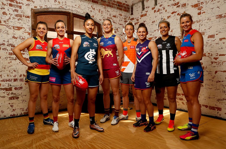 MELBOURNE, AUSTRALIA - NOVEMBER 10: (L-R) Ebony Marinoff of Adelaide, Daisy Pearce of Melbourne, Darcy Vescio of Carlton, Tayla Harris of Brisbane, Emma Swanson of GWS Giants, Kiara Bowers of Fremantle, Moana Hope of Collingwood and Katie Brennan of the Western Bulldogs pose in their 2017 playing guernseys during the AFL Womens Apparel Launch at Kensington Collective in Melbourne, Australia on November 10, 2016. (Photo by Adam Trafford/AFL Media)
