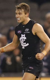 Patrick Cripps celebrating a sixth win for the season